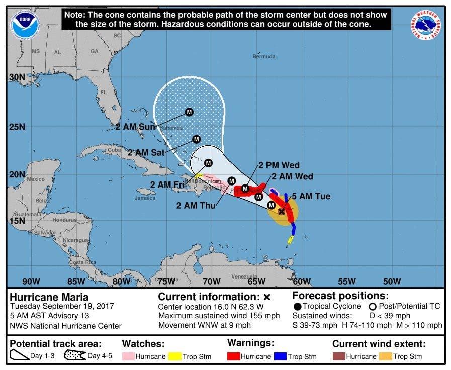 Cono de trayectoria más probable del huracán María,actualizada a las 5:00am.